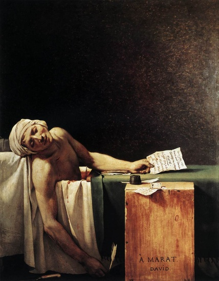'A Morte de Marat', óleo por Jacques-Louis David (1748-1825, France)
