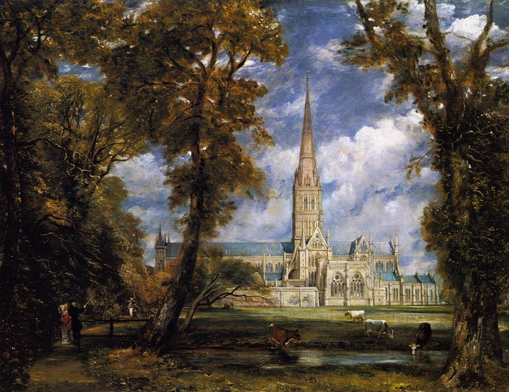 'Salisbury Cathedral de Motivos do Bispo', óleo por John Constable (1776-1837, United Kingdom)