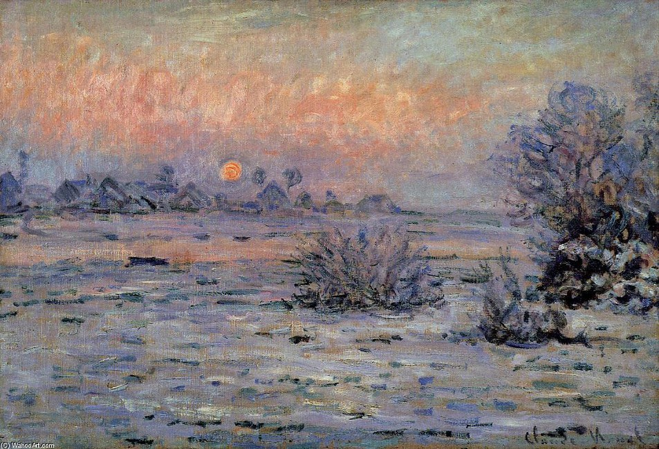 'Winter Sun, Lavacourt', óleo por Claude Monet (1840-1926, France)