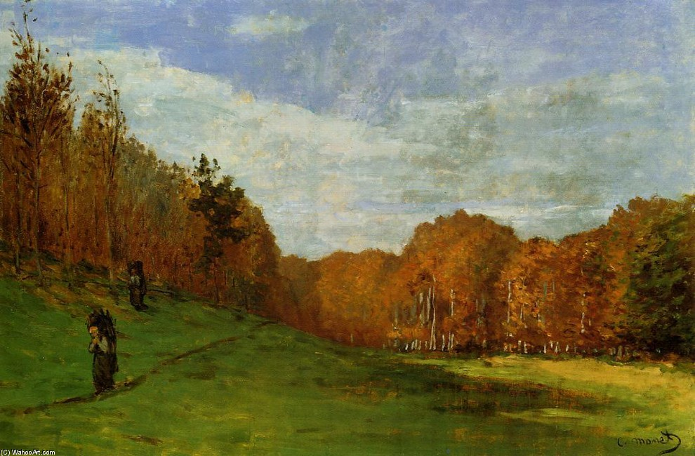 'Woodbearers na floresta de Fontainebleau', óleo por Claude Monet (1840-1926, France)