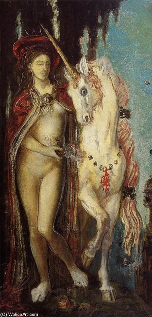 'The Unicorn', óleo por Gustave Moreau (1826-1898, France)