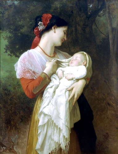 Admiração Maternal, óleo por William Adolphe Bouguereau (1825-1905, France)