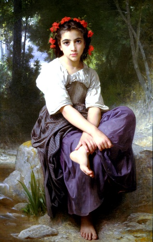 O Brook, Petróleo por William Adolphe Bouguereau (1825-1905, France)
