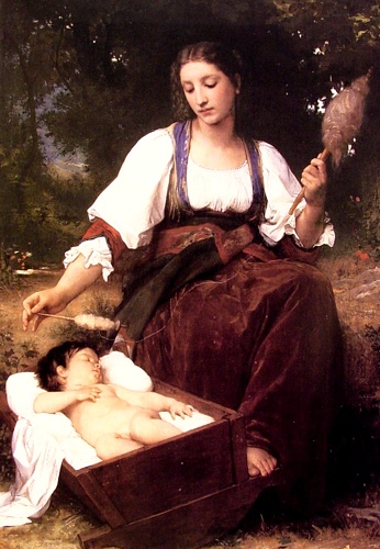 acalento, Petróleo por William Adolphe Bouguereau (1825-1905, France)