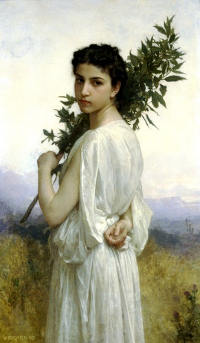 Laurel ramo, óleo por William Adolphe Bouguereau (1825-1905, France)