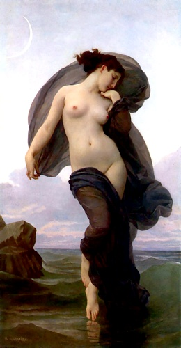 noite humor, Petróleo por William Adolphe Bouguereau (1825-1905, France)