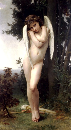 Lamour molhado, óleo por William Adolphe Bouguereau (1825-1905, France)