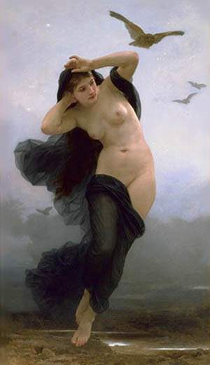 A Noite, Petróleo por William Adolphe Bouguereau (1825-1905, France)