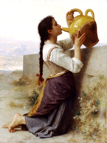 La soif, óleo por William Adolphe Bouguereau (1825-1905, France)