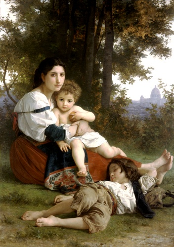 descansar, Petróleo por William Adolphe Bouguereau (1825-1905, France)