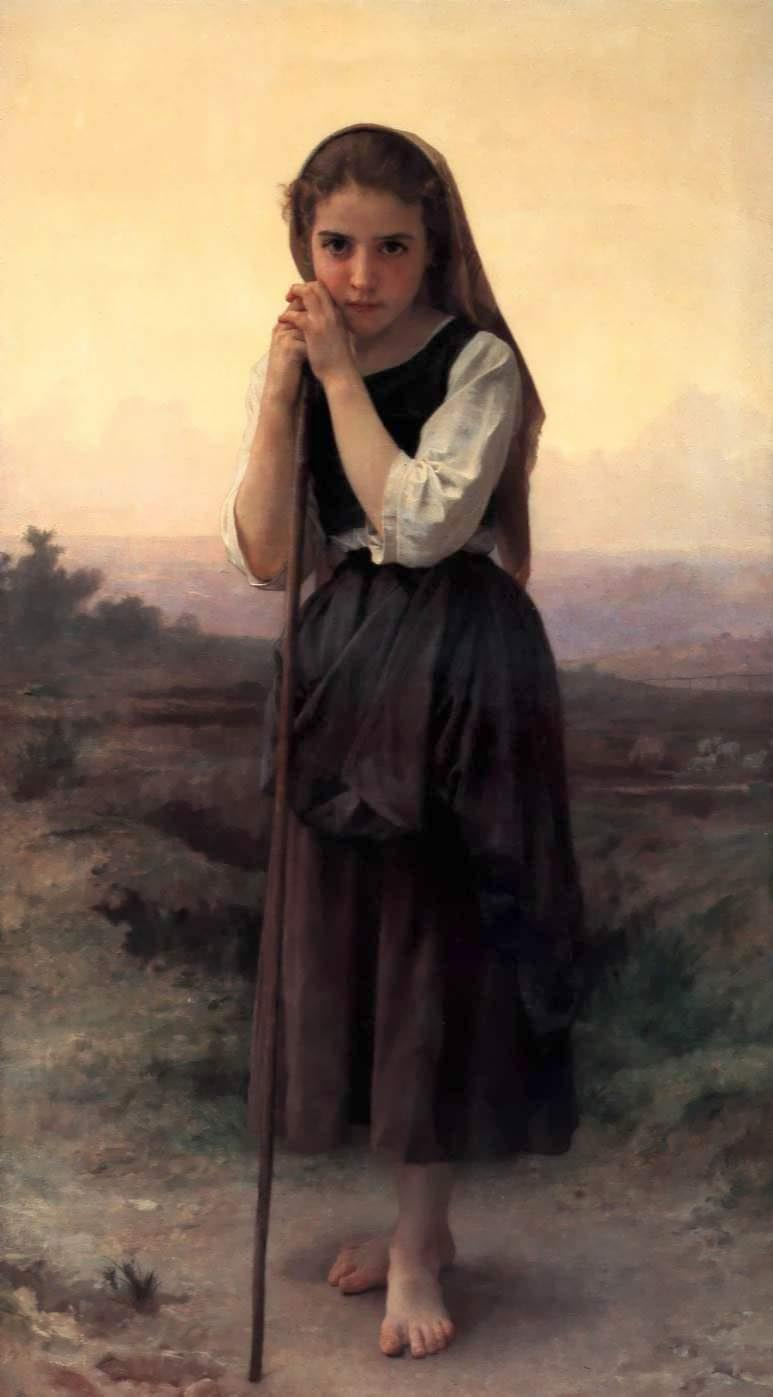 Pouco Pastora, óleo por William Adolphe Bouguereau (1825-1905, France)