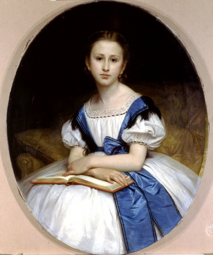 Retrato da senhorita Brissac, óleo por William Adolphe Bouguereau (1825-1905, France)