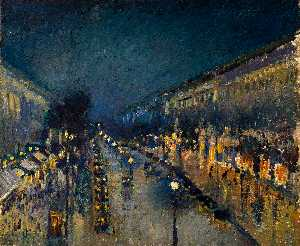 Camille Pissarro - O Boulevard Montmartre at Night