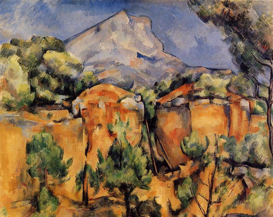 Mont Sainte-Victoire visto a partir do Bibemus Quarry, óleo sobre tela por Paul Cezanne (1839-1906, France)