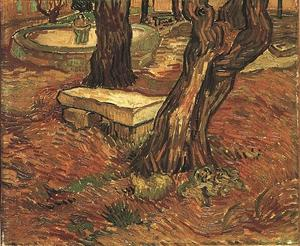 Vincent Van Gogh - Pedra Banco no jardim dos Saint-Paul Hospital , o