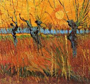 Vincent Van Gogh - Salgueiros no por do sol