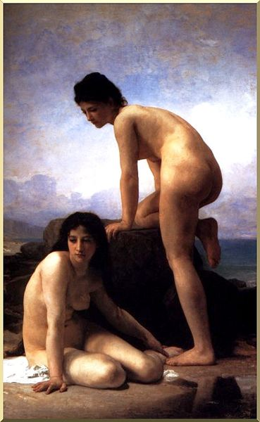 o bathers, Petróleo por William Adolphe Bouguereau (1825-1905, France)