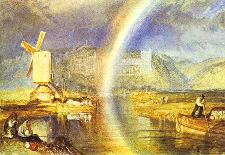 '`arundel` castelo, com arco-íris', 1824 por William Turner (1789-1862, United Kingdom)