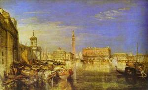 William Turner - ponte de sinais , Ducal Palácio e Custom-House , pintura veneza canaletti