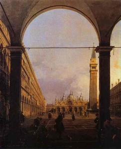 Giovanni Antonio Canal (Canaletto) - `piazza` são marcos - olhando do leste do North-West Canto