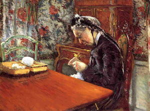 Gustave Caillebotte - Retrato de Madame Boissiere Knitting
