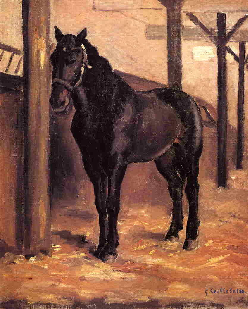 Yerres , escuro bay horse in the stable, óleo sobre tela por Gustave Caillebotte (1848-1894, France)