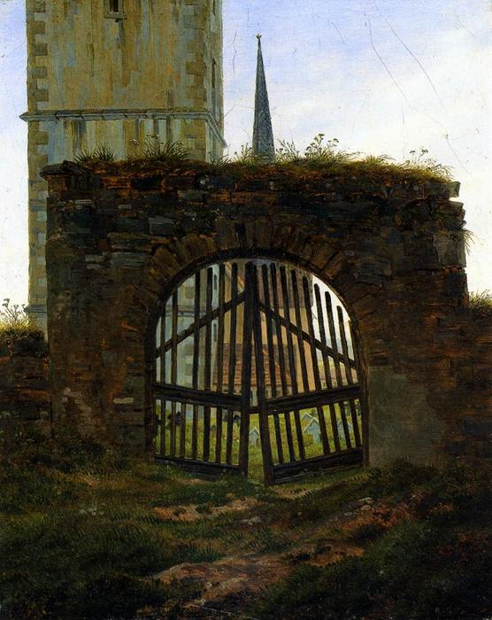 Ordem Copy Pintura : O Cemitério Gate (O Churchyard), 1825 por Caspar David Friedrich (1774-1840, Germany) | WahooArt.com