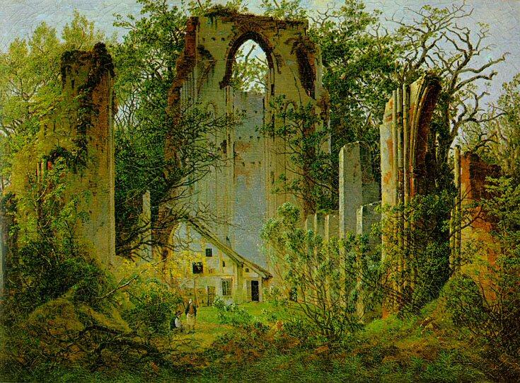 As ruínas de Eldena Abbey1  , Petróleo por Caspar David Friedrich (1774-1840, Germany)