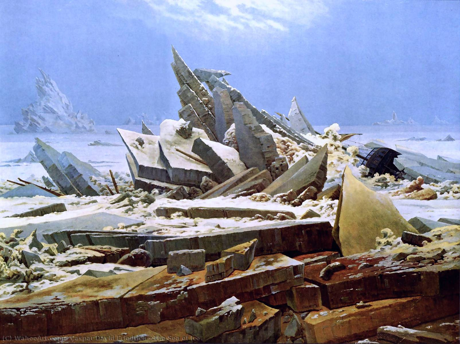O mar do gelo, óleo sobre tela por Caspar David Friedrich (1774-1840, Germany)