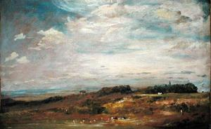 John Constable - Hampstead Heath com Banhistas