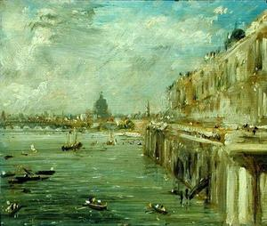 John Constable - somerset house terrace eo tâmisa a view from the north end of waterloo bridge com a catedral de st . Paul-s Catedral em a distância