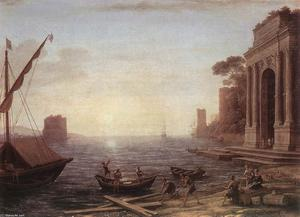 Claude Lorrain (Claude Gellée) - a `seaport` na nascer do sol