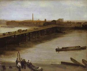 James Abbott Mcneill Whistler - castanho e prata antigo  Battersea Ponte