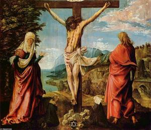 Albrecht Altdorfer - Crucifixion scene ,  Christ on a cruz with Mary e João