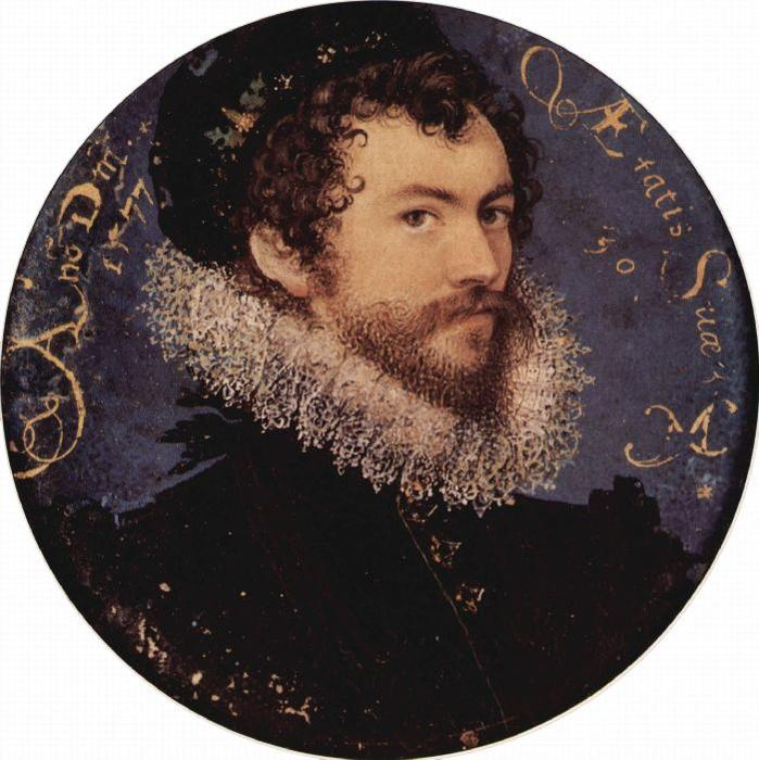 Auto-retrato, Petróleo por Nicholas Hilliard (1577-1619, United Kingdom)