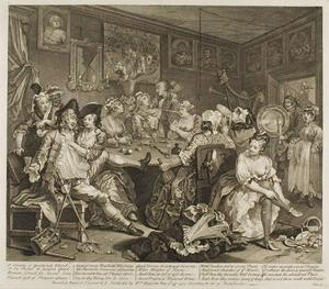William Hogarth - Plate três , de um Rake's Progress