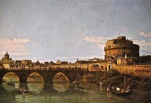 Bernardo Bellotto - Vista do Tibre com o Castel Sant Angelo