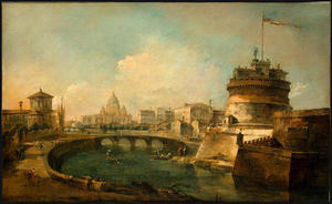 Francesco Lazzaro Guardi - Ver fantasiosa do Castel Sant Angelo em Roma