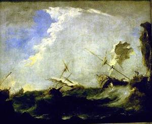 Francesco Lazzaro Guardi - tempestade na mar