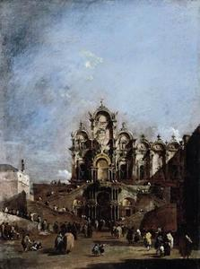 Francesco Lazzaro Guardi - Vista do Campo San Zanipolo em Veneza