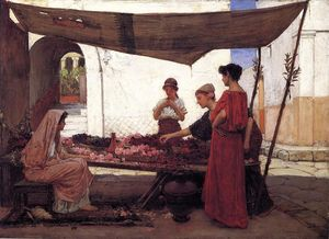 John William Waterhouse - Um mercado de flores grego