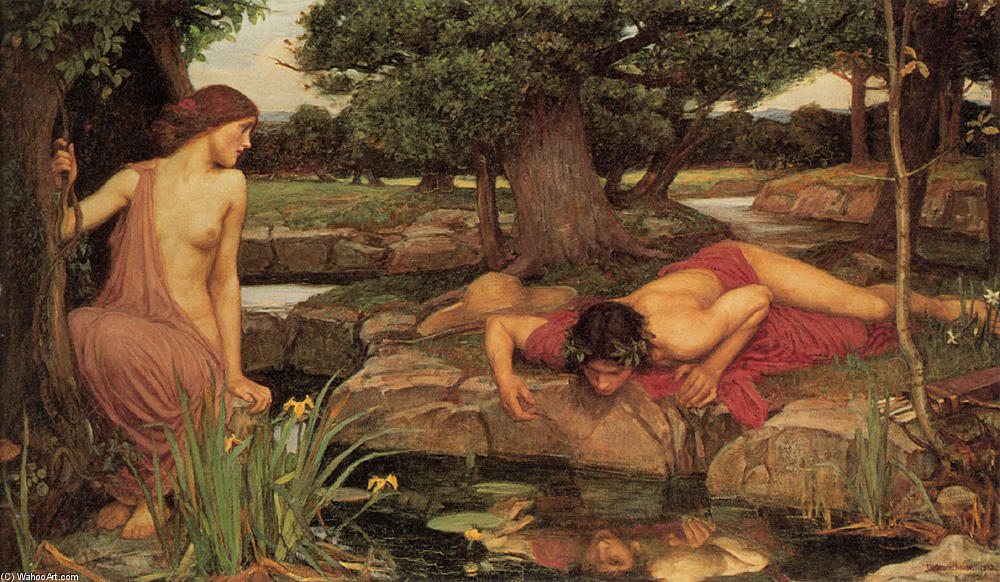 Eco e Narciso, 1903 por John William Waterhouse (1849-1917, Italy) | Copy Pintura | WahooArt.com