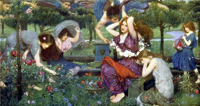 Flora e as Zephyrs, 1898 por John William Waterhouse (1849-1917, Italy) | Museu De Reproduções De Arte John William Waterhouse | WahooArt.com