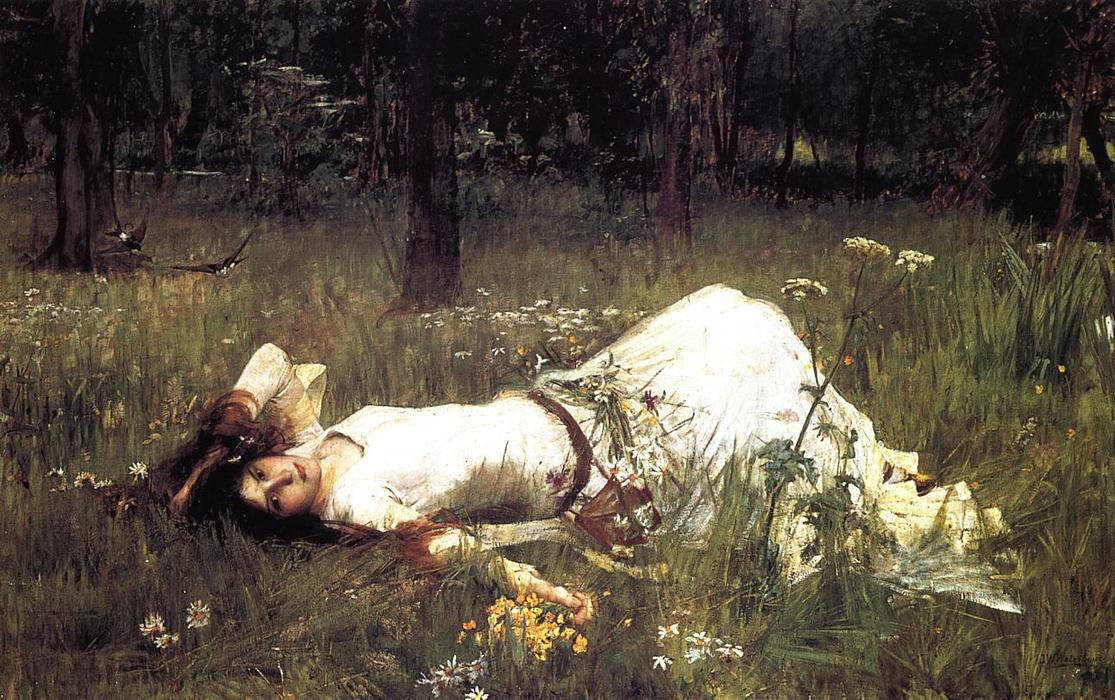Ophelia 1, 1889 por John William Waterhouse (1849-1917, Italy) | Reproduções De Arte John William Waterhouse | WahooArt.com