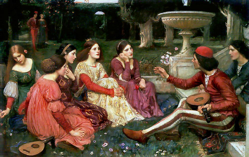 Conto do Decameron, Petróleo por John William Waterhouse (1849-1917, Italy)