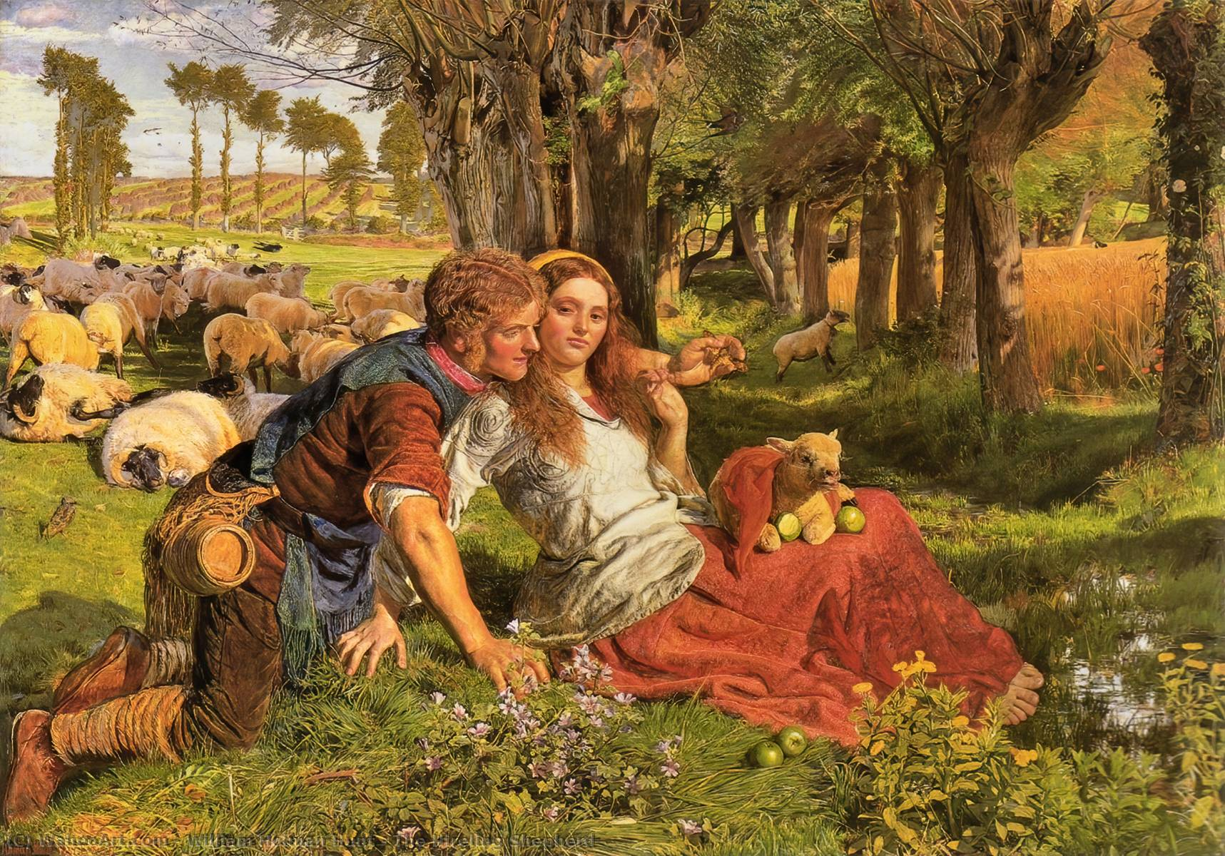 O Hireling Shepherd, 1851 por William Holman Hunt (1827-1910, United Kingdom) | Reproduções De Arte William Holman Hunt | WahooArt.com