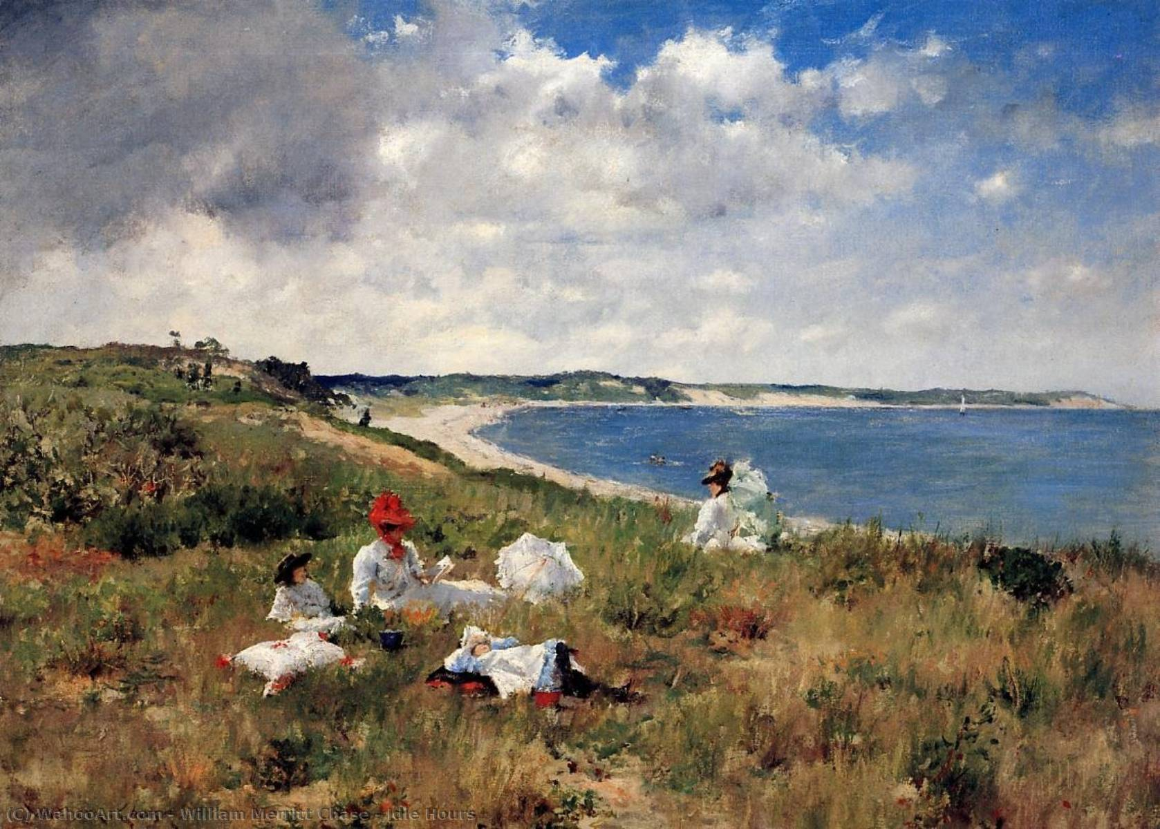 ocioso Horas , 1894 por William Merritt Chase (1849-1916, United States) | Reproduções De Pinturas William Merritt Chase | WahooArt.com