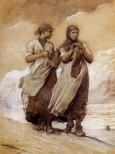 Winslow Homer - Fishergirls sobre Shore, Tynemouth