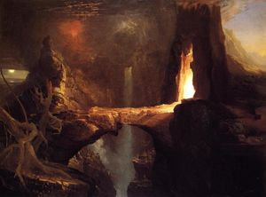 Thomas Cole - Expulsão . lua e firelight