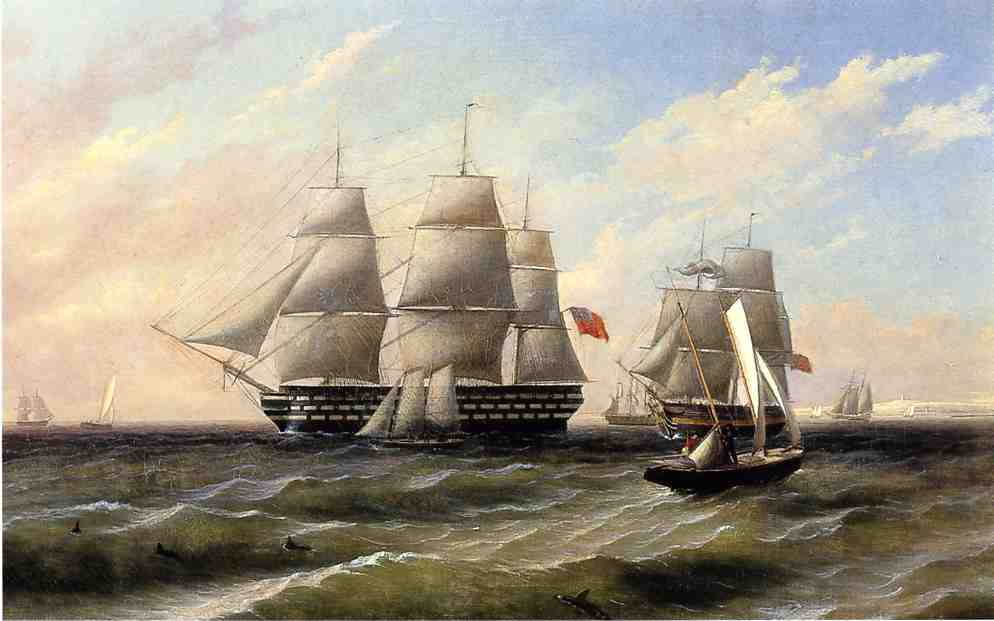 navios na mar, óleo sobre tela por Thomas Birch (1779-1851, United Kingdom)